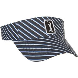 PGA Tour Womens Diagonal Stripe Embroidered Logo Visor