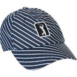 PGA Tour Womens Diagonal Stripe Embroidered Logo Cap
