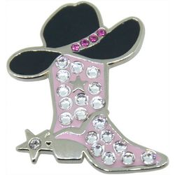 Navika Cowgirl Boot Crystal Cap Clip & Ball Marker Set