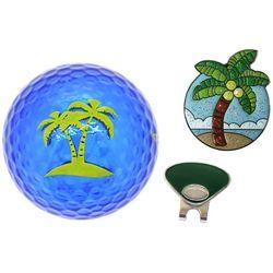 Navika Womens 3-pc. Palm Tree Golf Ball and Marker Gift Set