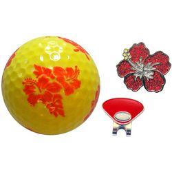 Navika Womens 3-pc. Hibiscus Golf Ball and Marker Gift Set