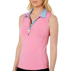 Pin & Clover Womens Tropical Floral Print Placket Polo Shirt