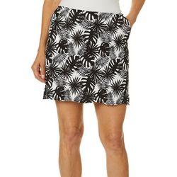 Pin & Clover Womens Palm Print Pull On Skort