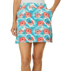 Pin & Clover Womens Tropical Hibiscus Pull On Skort