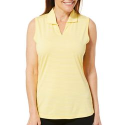 Tournament Collection Womens Sleeveless Striped Polo Shirt
