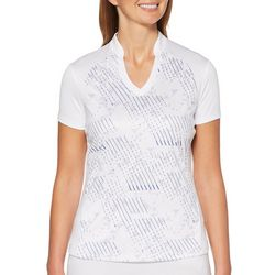 PGA TOUR Womens Linear Stripe Short Sleeve Polo Shirt