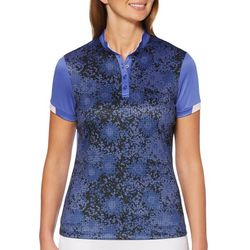 PGA TOUR Womens Gradient Floral Short Sleeve Polo Shirt