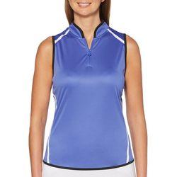 PGA TOUR Womens Striped Zip Placket Sleeveless Polo Shirt
