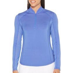 PGA TOUR Womens Solid Quarter Zip MotionFlux Long