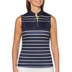 PGA Tour Womens Sleeveless Engineered Stripe Polo Shirt