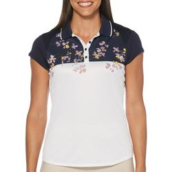 PGA TOUR Womens Floral Blossom Short Sleeve Polo Shirt