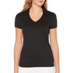 PGA TOUR Womens AirFlux Solid V-Neck Polo Shirt