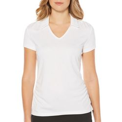 PGA TOUR Womens V-Neck Solid Polo Shirt