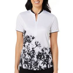 PGA TOUR Womens Floral Ink Short Sleeve Polo Shirt