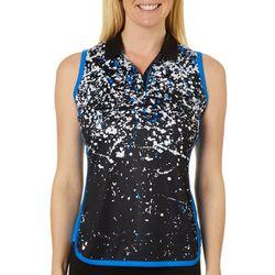 PGA TOUR Womens Sleeveless Splatter Print Polo Shirt