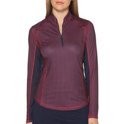 PGA TOUR Womens Grid Zip Placket Long Sleeve Polo Shirt