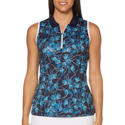 PGA TOUR Womens Sleeveless Floral Breeze Polo Shirt