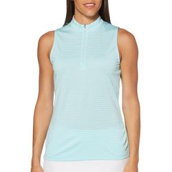 PGA TOUR Womens Sleeveless Tonal Stripes Polo Shirt