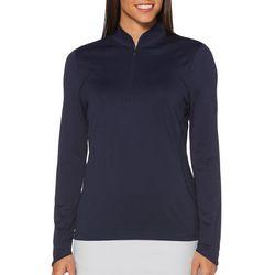 PGA TOUR Womens Sun Protection Zip Neck Long Sleeve Shirt