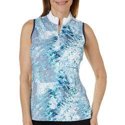 PGA TOUR Womens Sleeveless Tropical Shade Striped Polo Shirt