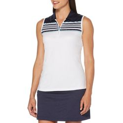 PGA TOUR Womens Sleeveless Engineered Map Stripe Polo Shirt