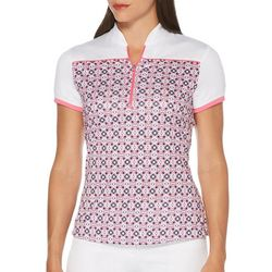 PGA TOUR Womens Geo Tile Print Short Sleeve Polo Shirt