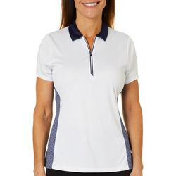 PGA TOUR Womens Tile Panel Short Sleeve Polo Shirt