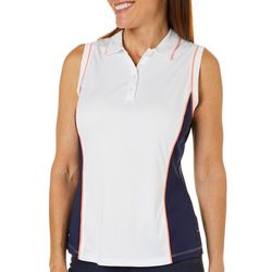 PGA TOUR Womens Sleeveless Hourglass Colorblock Polo Shirt