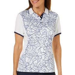 PGA TOUR Womens Floral Stencil Short Sleeve Polo Shirt