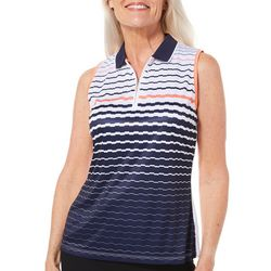PGA TOUR Womens Sleeveless Engineered Stirpe Polo Shirt