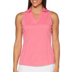 PGA TOUR Womens Sleeveless Airflux Solid Polo Shirt