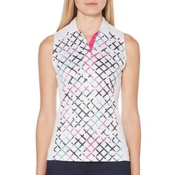 PGA TOUR Womens Sleeveless Diagonal Grid Polo Shirt