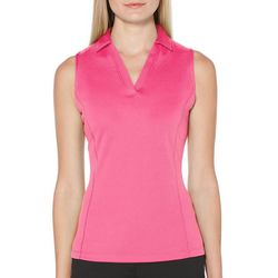 PGA TOUR Womens Sleeveless Solid Airflux Polo Shirt