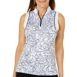 PGA TOUR Womens Sleeveless Floral Print Polo Shirt