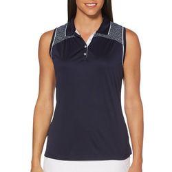 PGA TOUR Womens Sleeveless Solid Tile Print Shirt