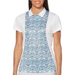 PGA TOUR Womens Mosaic Panel Short Sleeve Polo Shirt