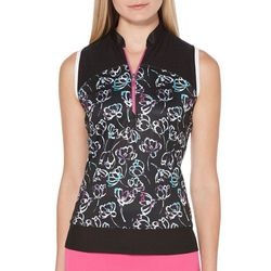 PGA TOUR Womens Sleeveless Floral Mesh Polo Shirt