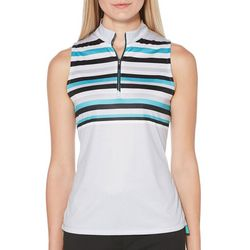 PGA TOUR Womens Sleeveless Striped Ruched Polo Shirt