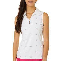 Lillie Green Womens Ditsy Clubs Back Mesh Polo Shirt