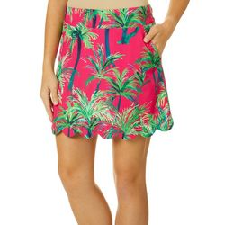 Lillie Green Womens Swaying Palms Scalloped Pull On Skort