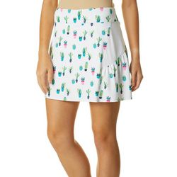 Lillie Green Womens Cactus Mesh Insert Flared Pull On Skort