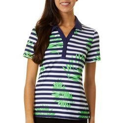 Lillie Green Womens Stripes & Fronds Golf Polo Shirt