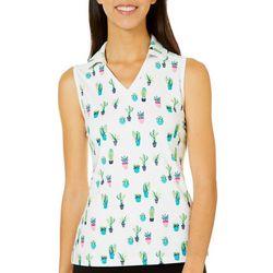 Lillie Green Womens Sleeveless Cactus Print Polo Shirt
