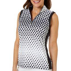 Coral Bay Golf Womens Sleeveless Ombre Dot Polo Shirt