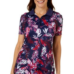 Coral Bay Golf Womens Tropical Leaf Short Sleeve Polo Shirt