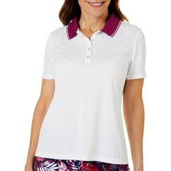 Coral Bay Golf Womens Contrast Collar Sleeve Polo Shirt