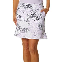 Coral Bay Golf Womens Leopard Print Pull On Skort