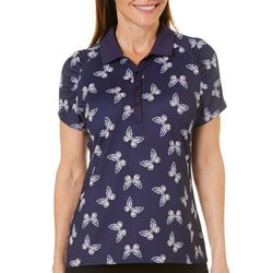 Coral Bay Golf Womens Butterfly Ruched Polo Shirt