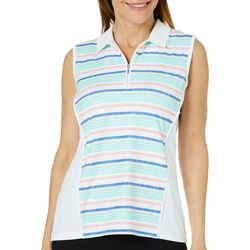 Coral Bay Golf Womens Sleeveless Striped Panel Polo Shirt