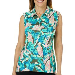 Coral Bay Golf Womens Sleeveless Tropical Palm Polo Shirt
